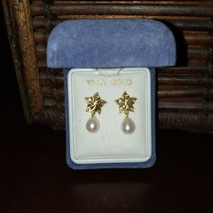 Jewelry - 10kt Gold and Pearl Earrings NIB